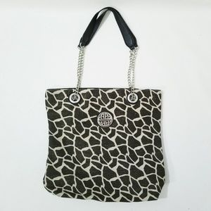 Kate Landry Canvas Tote With Chain NWOT Giraffe